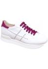 Hogan Zapatillas deportivas de mujer con cuña en piel blanca con cordones y detalles fucsia