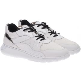 Hogan Zapatillas deportivas de moda para hombre en piel y tejido blanco con cordones negros