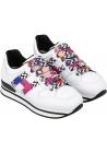 Hogan Zapatillas deportivas de moda para mujer en piel blanca con cordones y log de colores