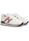Hogan Zapatillas de moda con puntera redondeada para mujer en piel blanca y logo rosa