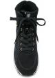 Hogan Zapatillas deportivas de mujer con cuña alta en piel negra con purpurina y pelo en el interior