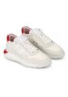 Hogan Zapatillas deportivas de moda para hombre en piel y tejido blanco con detalles en rojo