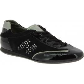 Hogan Zapatillas bajas de mujer en ante y charol negro con piedras de joya en el logo