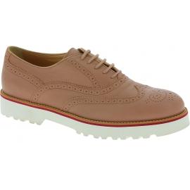 Hogan Zapatos brogues de mujer con cordones en piel rosa empolvado con suela blanca