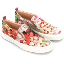 Zapatos sin cordones para mujer Gucci en piel con estampado floral