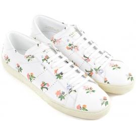 Zapatillas de mujer Saint Laurent en cuero blanca estampado floral