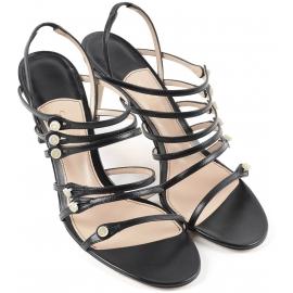 Sandalias de mujer Gucci con tacones en piel negra