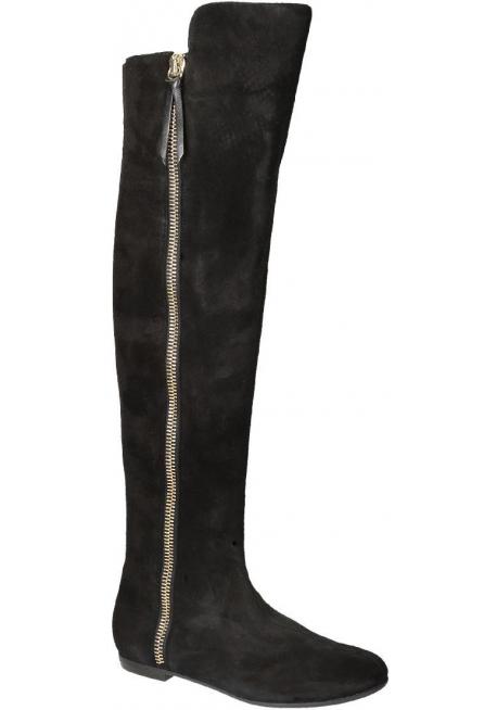 Botas por encima de la rodilla de cuero negro Giuseppe Zanotti