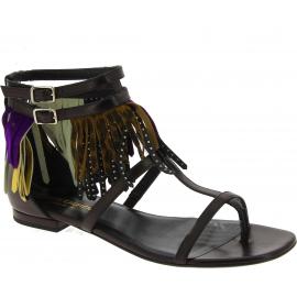 Sandalias planas Saint Laurent de cuero negro y adornos