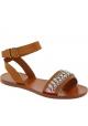 Sandalias planas Miu Miu en cuero marron con cristales
