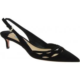 Zapatos mujer con tacón bajo Prada en ante negro