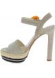 Sandalias de tacón alto de ante beige de Prada con cuerda