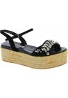 Sandalias de cuña Miu Miu negros con cristales y cuerda