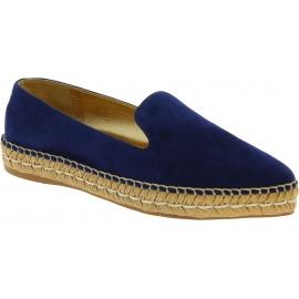 Alpargatas de mujer Prada en ante azul y cuero dorado