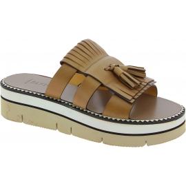 Sandalias de cuña Sartore en cuero marrón y borlas