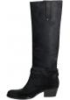 Barbara Bui rodilla botas altas en cuero negro Nubuck