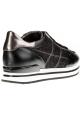 Hogan Zapatillas de moda con cuña para mujer en piel negra con purpurina