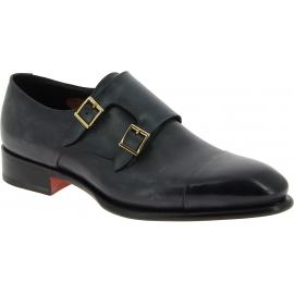Santoni Zapatos formales para hombre con doble hebilla en piel de becerro negra
