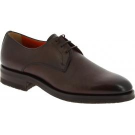 Santoni Zapatos oxford para hombre con punta redondeada en piel marrón