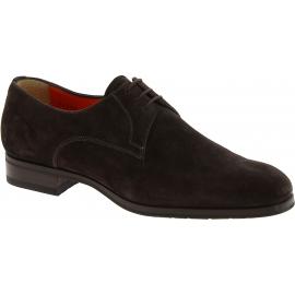 Santoni Zapatos brogue con cordones para hombre con cordones en ante marrón