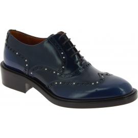 Sartore Zapatos brogues para mujer con cordones y tachuelas en piel azul