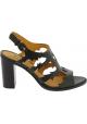 Sartore Sandalias de tacón alto para mujer en piel negra con hebilla
