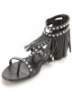 Saint Laurent Sandalias planas de moda mujer tachuelas y flecos en piel negra