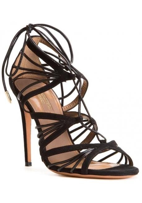 Sandalias de tacón alto Aquazzura en cuero de gamuza Negro