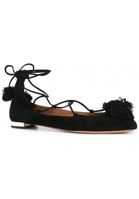 Botas de ante Aquazzura cordones en piel negro