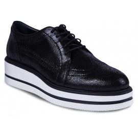Hogan Zapatos de mujer con cordones piel de becerro negra suela alta de goma blanca