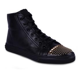 Gucci Zapatillas altas de moda para mujer en piel negra con tachuelas doradas