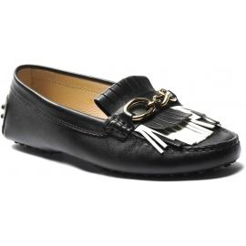 Tod's mocasines sin cordones para mujer en piel negra con hebilla y flecos