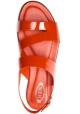 Tod's Sandalias planas de mujer en charol rojo pimentón con cierre de hebilla