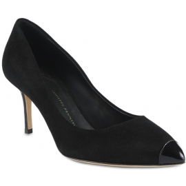 Giuseppe Zanotti Zapatos de tacón para mujer en terciopelo negro con tacón y puntera de charol