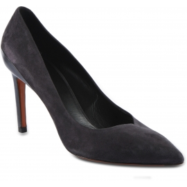 Santoni Zapatos puntiagudos con tacón alto para mujer en gamuza gris