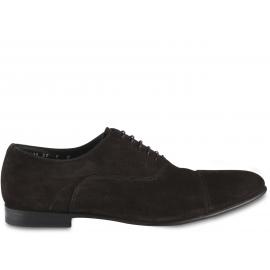 Santoni Zapatos brogues para hombre con cordones y punta redondeada en terciopelo marrón