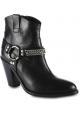 Saint Laurent Botines para mujer con puntera redondeada en piel color negro con tira y tacón