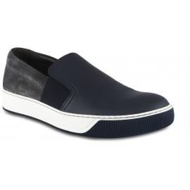 Lanvin Zapatillas sin cordones para hombre en piel azul y ante gris con bandas elásticas laterales