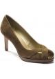 Stuart Weitzman Zapatos de tacón abiertos para mujer en ante cuero con punta metálica