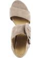 Stuart Weitzman Sandalias de mujer con tacón cuadrado en gamuza color topo con hebilla