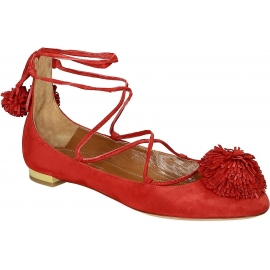 Bailarines con cordones de gamuza roja Aquazzura