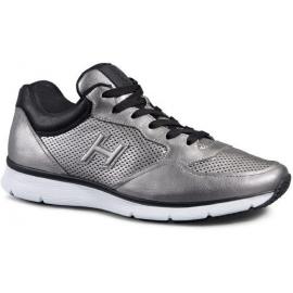 hombre de las zapatillas de deporte Hogan en cuero metalizado en plata