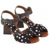 tela de cuero negro sandalias de tacón alto de Dolce & Gabbana