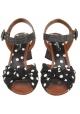 Sandalias de tacón alto Dolce & Gabbana en tejido de cuero negro