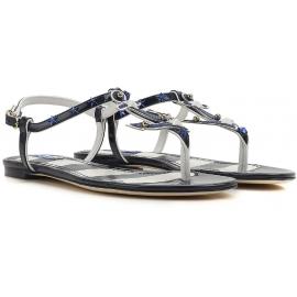 Dolce & Gabbana sandalias t-straps planos en piel de patente azul