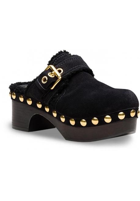 Mulas de las mujeres zapatos de coche en cuero de oveja negra