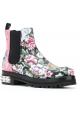 Alexander McQueen botines en el patrón florel Cuero