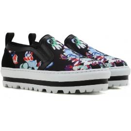 Zapatillas de deporte antideslizantes para el cuero cuña MSGM y la tela de estampado floral negro