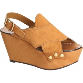 cuñas sandalias de Chloé en camello gamuza
