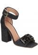 Marni sandalias de tacón alto de fieltro gris oscuro y cristales